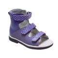 Ортопедические ботинки летние арт.71497-1 фиолетовый с горошком
